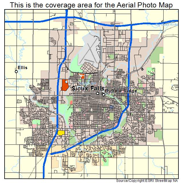 Aerial Photography Map Of Sioux Falls SD South Dakota