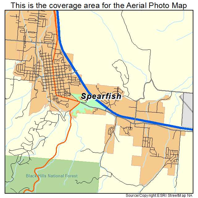 Aerial Photography Map Of Spearfish SD South Dakota