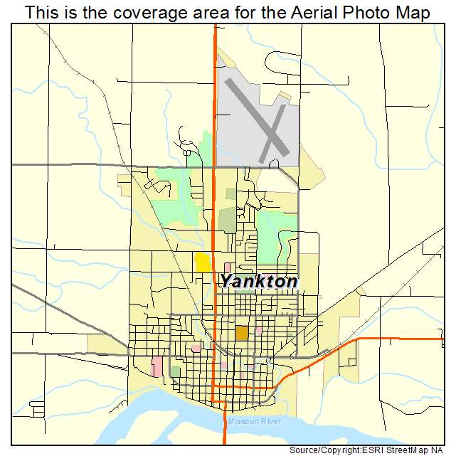 Aerial Photography Map of Yankton SD South Dakota