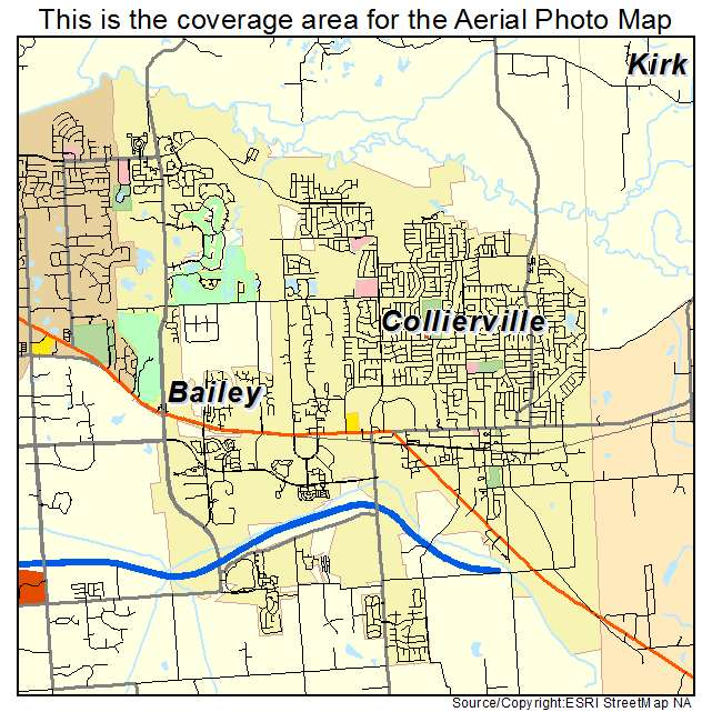 aerial photography map of collierville tn tennessee