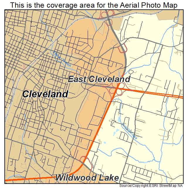 Aerial Photography Map Of East Cleveland TN Tennessee