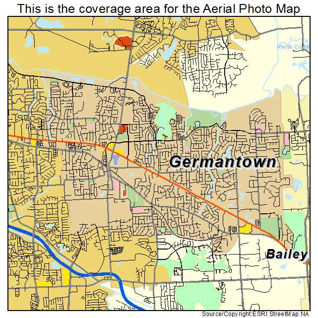 Aerial Photography Map of Germantown TN Tennessee