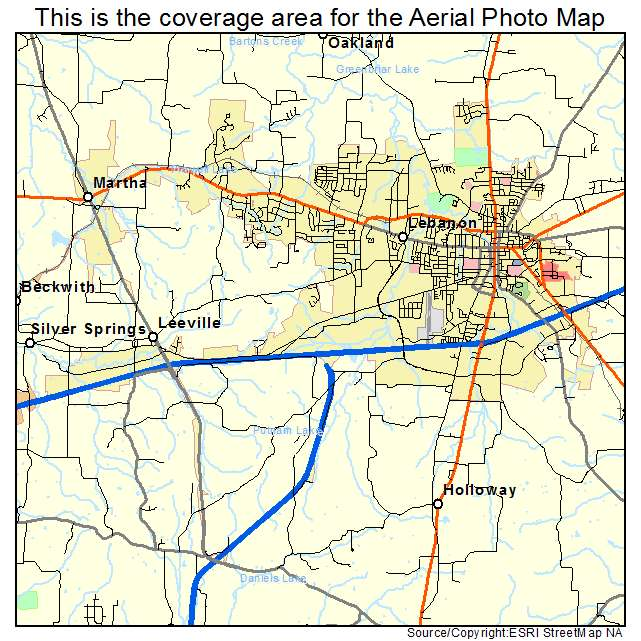 Lebanon Tn Tennessee Aerial Photography Map 2014
