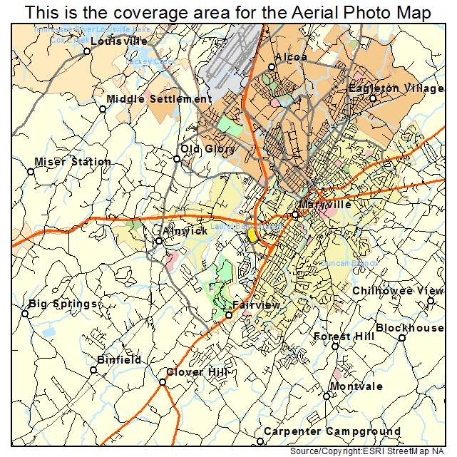 Maryville Tn Tennessee Aerial Photography Map 2014