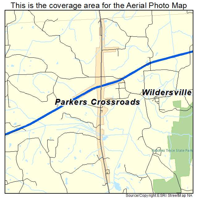 Aerial Photography Map of Parkers Crossroads, TN Tennessee