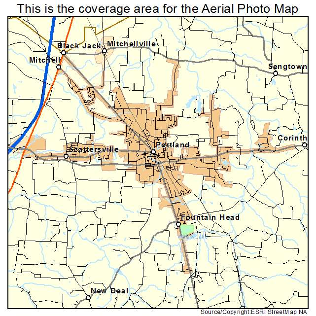 Portland Tennessee Map.Aerial Photography Map Of Portland Tn Tennessee