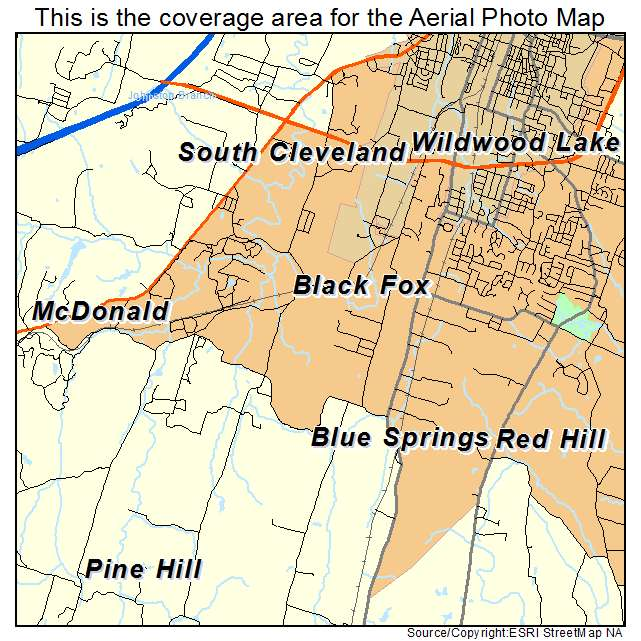 Aerial Photography Map Of South Cleveland TN Tennessee