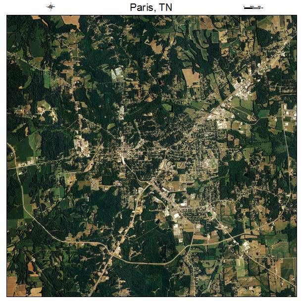 Paris, TN air photo map