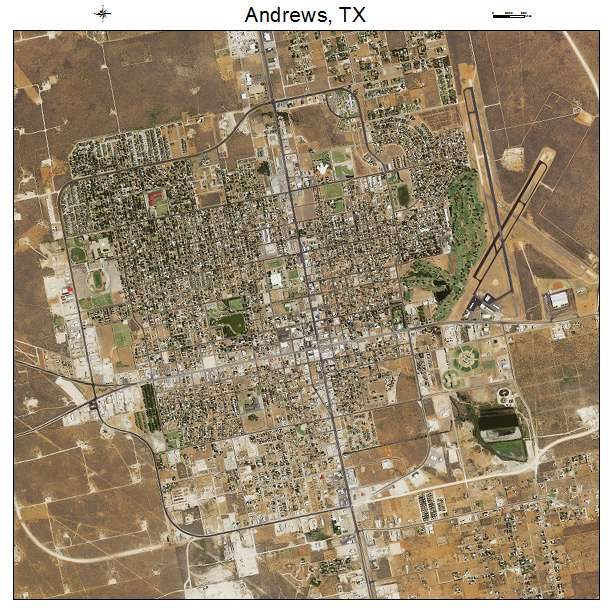 Aerial Photography Map of Andrews, TX Texas Andrews Tx