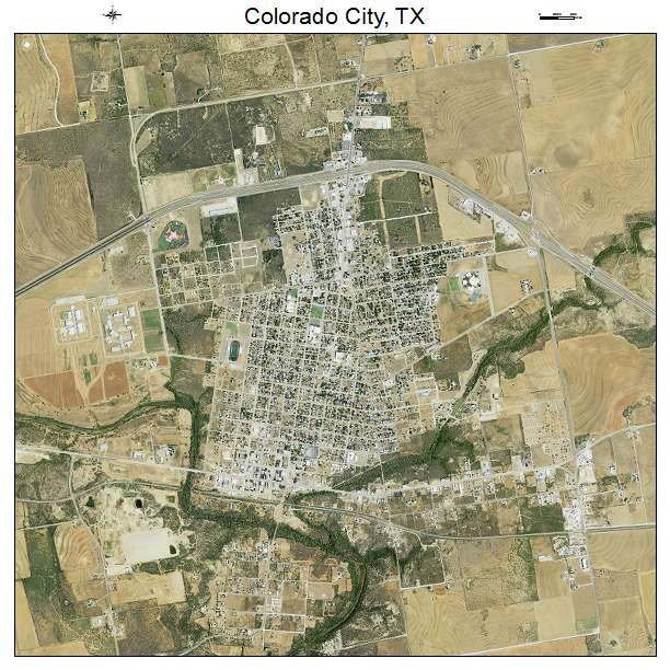 Aerial Photography Map Of Colorado City, TX Texas