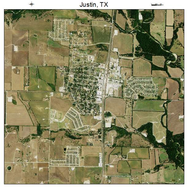 Map Of Justin Texas.Justin Tx Texas Aerial Photography Map 2014