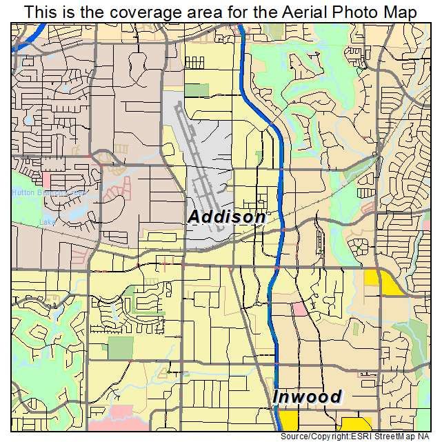 Addison Texas Map Aerial Photography Map of Addison, TX Texas