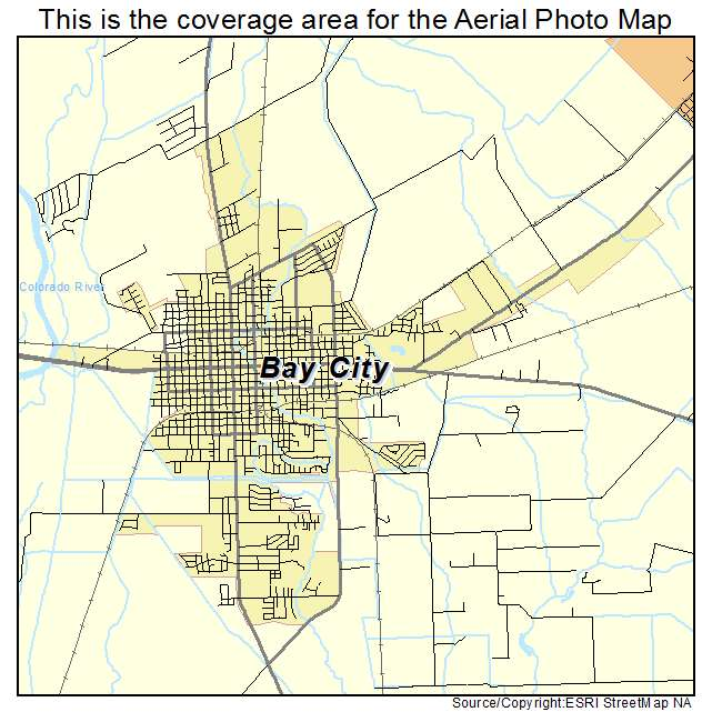 Aerial Photography Map Of Bay City TX Texas