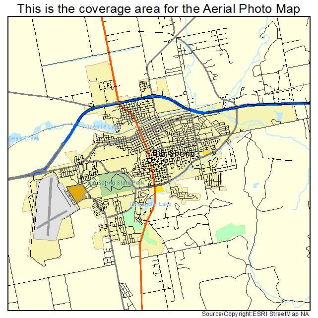 Aerial Photography Map Of Big Spring Tx Texas