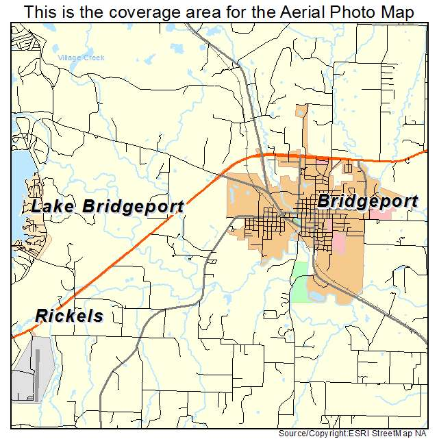 Aerial Photography Map Of Bridgeport TX Texas