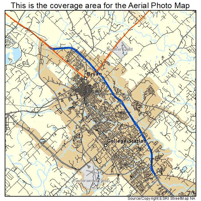 Aerial Photography Map Of Bryan Tx Texas