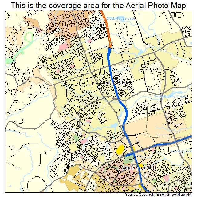 Aerial Photography Map of Cedar Park, TX Texas on