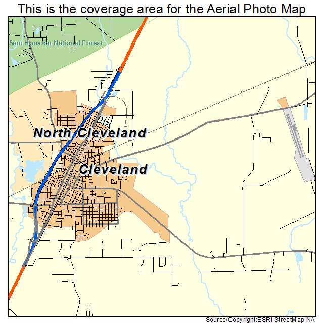 Cleveland Tx Texas Aerial Photography Map 2014