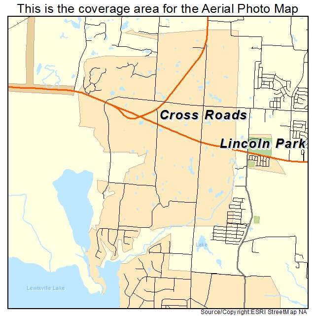 Aerial Photography Map of Cross Roads, TX Texas