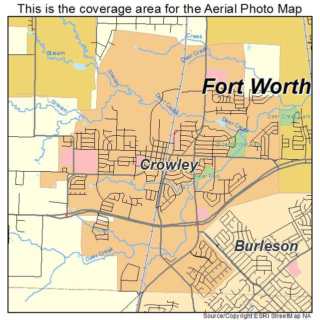 Aerial Photography Map Of Crowley Tx Texas