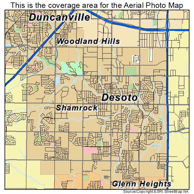 Aerial Photography Map of DeSoto, TX Texas on