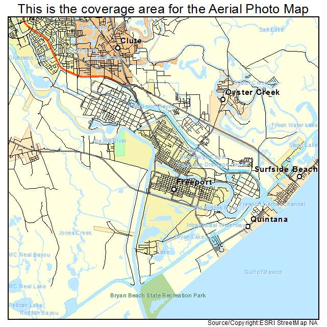 Aerial Photography Map of Freeport TX Texas