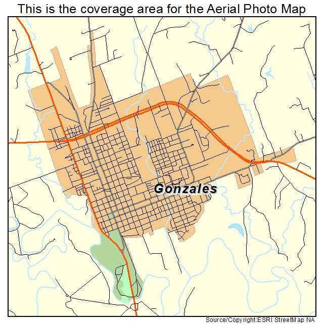 Aerial Photography Map Of Gonzales TX Texas