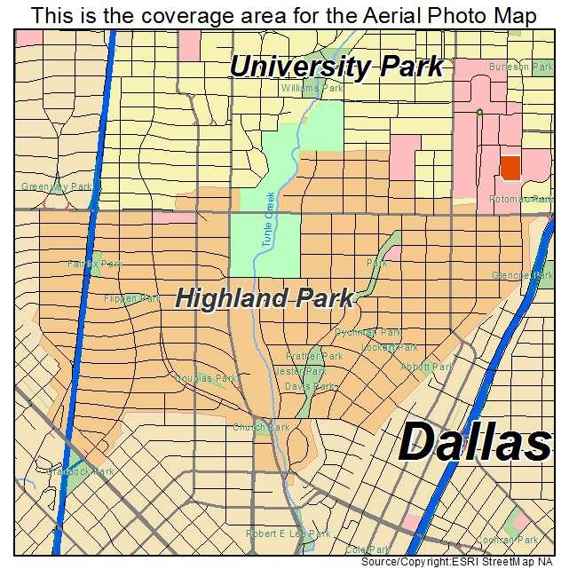 Map Of Highland Park Texas