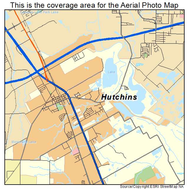 Aerial graphy Map of Hutchins TX Texas