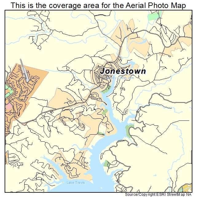 Aerial Photography Map of Jonestown TX Texas
