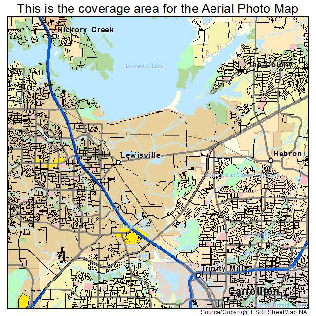Aerial Photography Map of Lewisville TX Texas