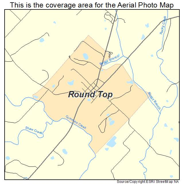 Aerial Photography Map Of Round Top Tx Texas