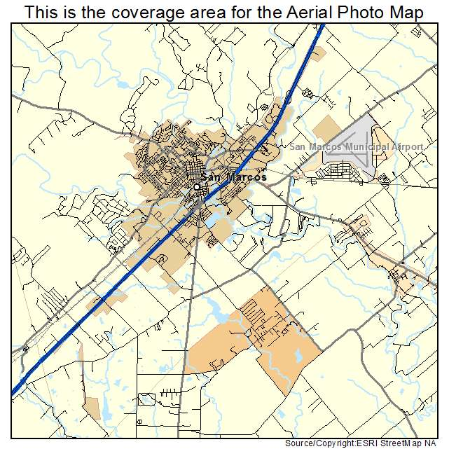 Aerial Photography Map Of San Marcos TX Texas