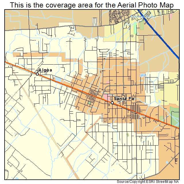 Aerial Photography Map Of Santa Fe TX Texas