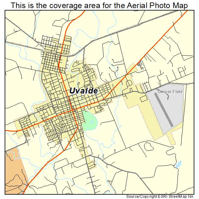 aerial photography map of uvalde tx texas