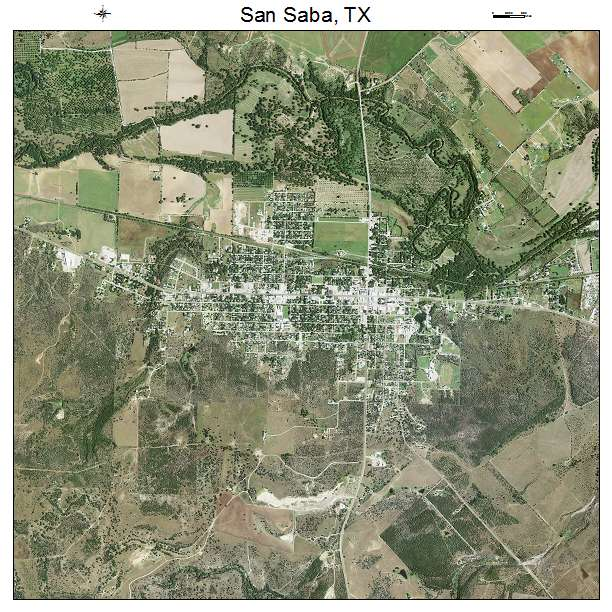Aerial Photography Map Of San Saba Tx Texas