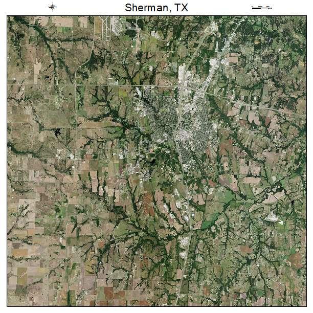 Sherman, TX air photo map