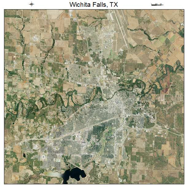 Aerial Photography Map of Wichita Falls TX Texas