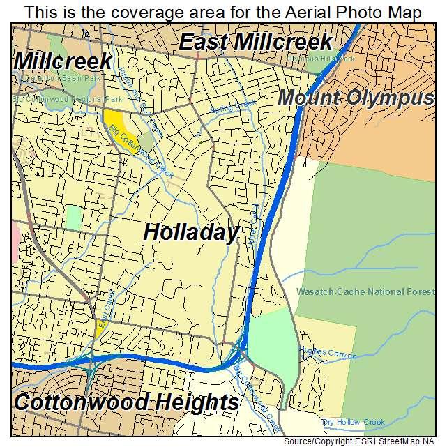 aerial photography map of holladay ut utah
