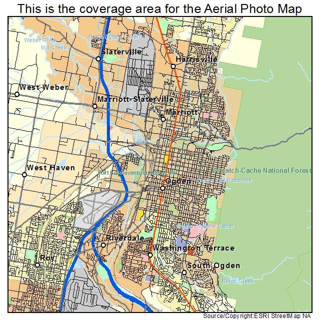 aerial photography map of ogden ut utah