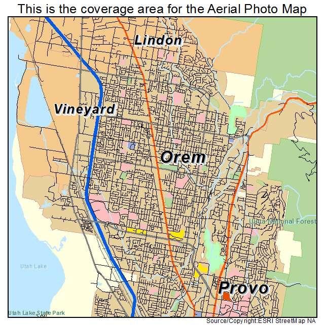 Aerial Photography Map of Orem UT Utah