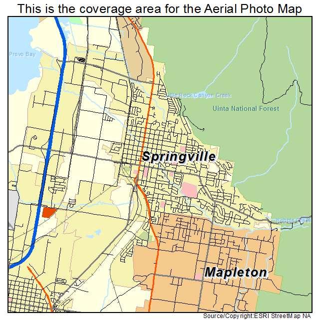 Aerial Photography Map of Springville, UT Utah