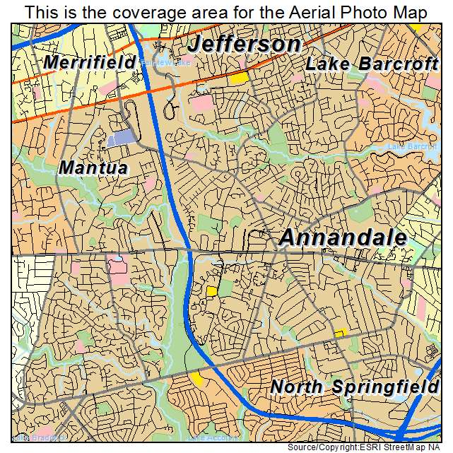 Aerial Photography Map Of Annandale Va Virginia