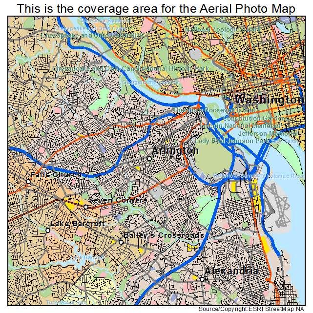 Aerial Photography Map Of Arlington Va Virginia