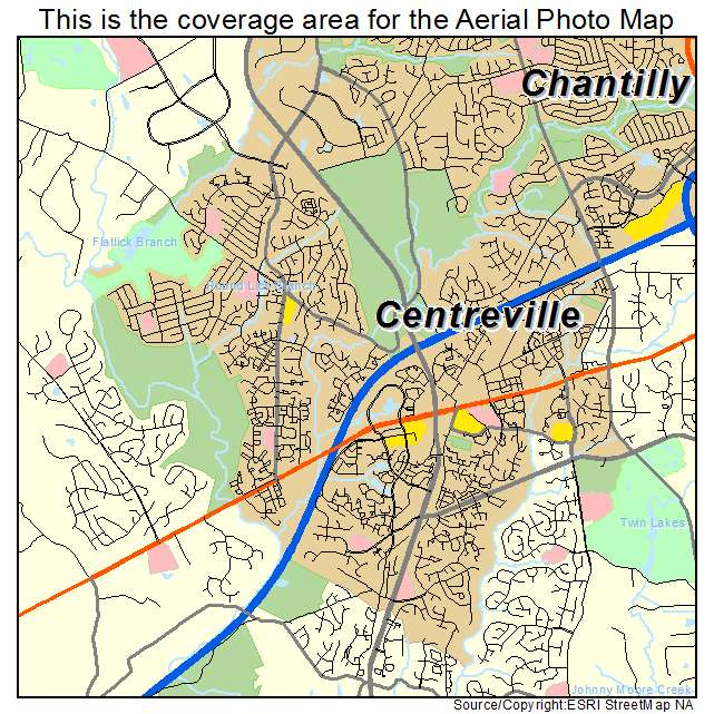 Aerial Photography Map of Centreville VA Virginia