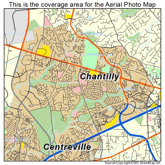 Aerial Photography Map of Chantilly, VA Virginia on