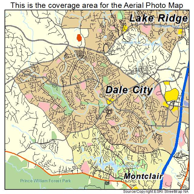 Aerial Photography Map of Dale City VA Virginia