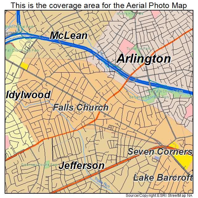 Falls Church Virginia Map.Aerial Photography Map Of Falls Church Va Virginia