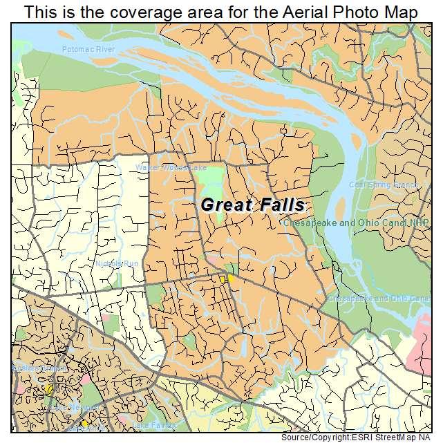 Aerial Photography Map of Great Falls VA Virginia