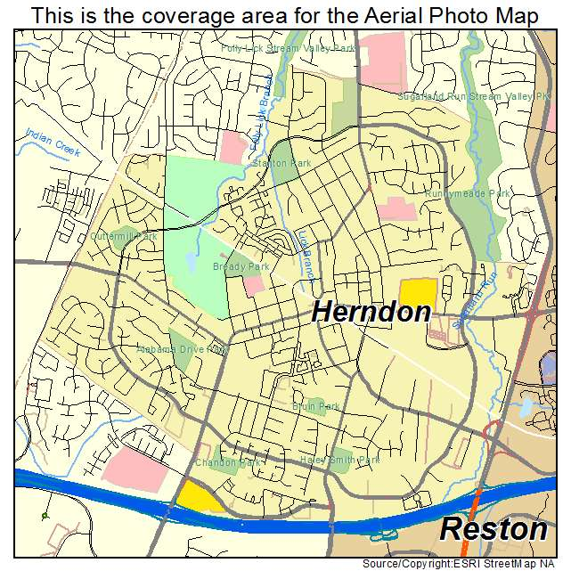 Aerial Photography Map Of Herndon VA Virginia - Virginia on map